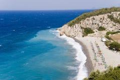 Spiaggia sull'isola di Samos Fotografia Stock Libera da Diritti