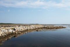 Spiaggia sull'isola di Solovetsky, Russia Fotografia Stock