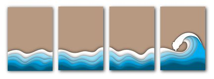 Spiaggia tagliata di carta di estate con le onde di oceano o del mare e l'insieme delle alette di filatoio della sabbia royalty illustrazione gratis