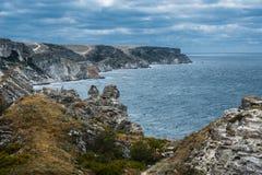 Spiaggia, Tarhankut, Dzhangul La Crimea, Russia Immagine Stock Libera da Diritti