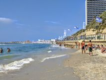 Spiaggia a Tel Aviv Fotografie Stock