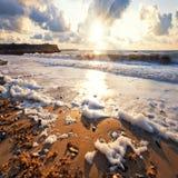 Spiaggia tempestosa del mare Fotografia Stock Libera da Diritti