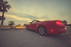 Spiaggia a tempo di tramonto, automobile parcheggiata di Key West Fotografia Stock Libera da Diritti