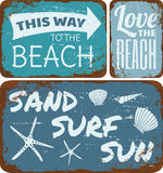 Spiaggia Tin Signs Collection Fotografia Stock