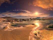 Spiaggia tramonto/di alba Fotografia Stock