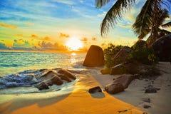 Spiaggia tropicale al tramonto Fotografie Stock Libere da Diritti