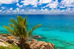Spiaggia tropicale alle Seychelles Fotografie Stock Libere da Diritti