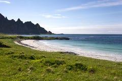 Spiaggia tropicale a Andenes in Norvegia fotografia stock
