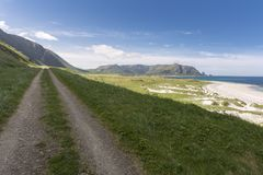 Spiaggia tropicale a Andenes in Norvegia immagini stock