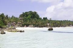 Spiaggia tropicale con l'albero del cocco Fotografia Stock