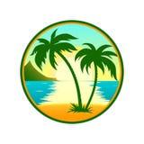 Spiaggia tropicale con l'icona rotonda della palma illustrazione vettoriale