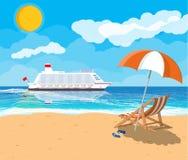 Spiaggia tropicale con la nave da crociera Fotografie Stock Libere da Diritti
