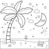 Spiaggia tropicale con la palma alla notte Pagina in bianco e nero del libro da colorare illustrazione di stock