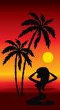 Spiaggia tropicale con le palme e la ragazza illustrazione vettoriale