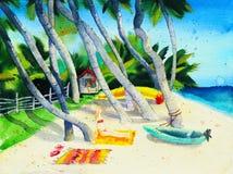 Spiaggia tropicale con le palme e ragazza che prende il sole Immagine Stock Libera da Diritti