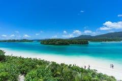 Spiaggia tropicale dell'isola e laguna blu della radura, Okinawa, Giappone fotografia stock libera da diritti
