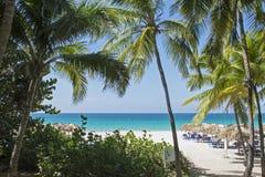Spiaggia tropicale della località di soggiorno in Cuba Fotografia Stock
