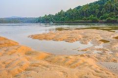 Spiaggia tropicale di Betul a bassa marea in Goa, India immagine stock