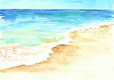 Spiaggia tropicale di estate con la sabbia e l'onda dorate Illustrazione disegnata a mano dell'acquerello illustrazione vettoriale