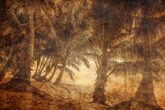Spiaggia tropicale esotica nel retro stile Fotografia Stock
