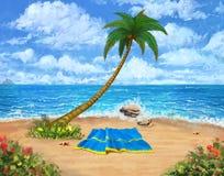 Spiaggia tropicale Fondo e contesto del paesaggio Arte di concetto Illustrazione realistica fotografia stock