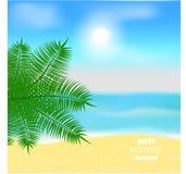 Spiaggia tropicale panoramica con la palma illustrazione di stock
