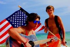 Spiaggia tropicale patriottica variopinta astratta di Panama City della riva di mare fotografia stock