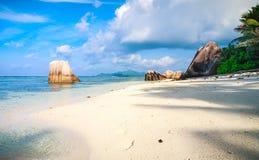 Spiaggia tropicale sbalorditiva in Seychelles Fotografie Stock Libere da Diritti