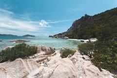 Spiaggia tropicale in Seychelles Immagine Stock