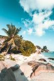 Spiaggia tropicale in Seychelles Fotografia Stock