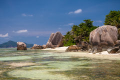 Spiaggia tropicale splendida in Seychelles Fotografia Stock