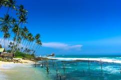 Spiaggia tropicale in Sri Lanka Fotografia Stock Libera da Diritti