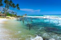 Spiaggia tropicale in Sri Lanka Fotografie Stock Libere da Diritti
