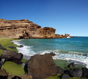 Spiaggia verde della sabbia Fotografia Stock