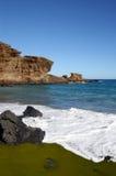 Spiaggia verde della sabbia sull'Hawai Fotografia Stock Libera da Diritti