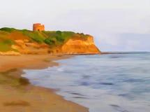 Spiaggia verniciata illustrazione di stock