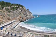 Spiaggia vuota del mare dell'hotel Immagine Stock Libera da Diritti