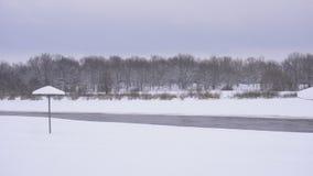 Spiaggia vuota di inverno nella neve, nei precedenti della foresta, spazio della copia, acqua archivi video