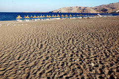 Spiaggia vuota su Rodos Fotografia Stock Libera da Diritti