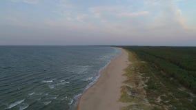 Spiaggia vuota sul Baltico, Wyspa Sobieszewska, aria stock footage
