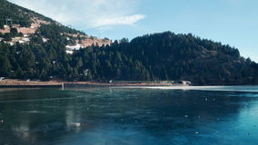 Spian sun light ice lake panorama vall de uria 4k time lapse spain stock video