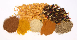 Spice. Macro photo of collection of spices isolated on white royalty free stock photos