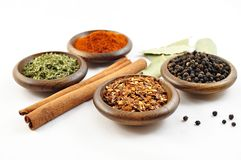 Spice. Different tipes of spice on wooden dish Royalty Free Stock Photo