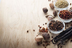 Spice. Assortment Spices border.Over wood background.With copy-space Royalty Free Stock Photos