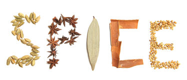Spice. The word spice written with spices Stock Photo