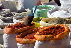 Spice. Cooking spices on sale in a city market at Marrakesh, Morocco Stock Photography