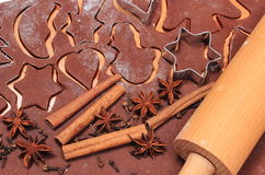Spice and accessories for baking on dough for gingerbread Royalty Free Stock Images