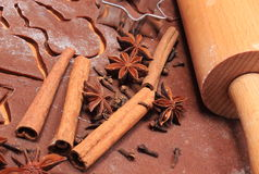 Spice and accessories for baking on dough for gingerbread Royalty Free Stock Photo