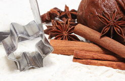 Spice and accessories for baking with dough for gingerbread Stock Photography
