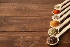 Spice assortment on a wooden table Stock Photography